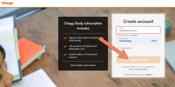 create free account on chegg
