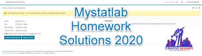 Mystatlab Homework Solutions 2020