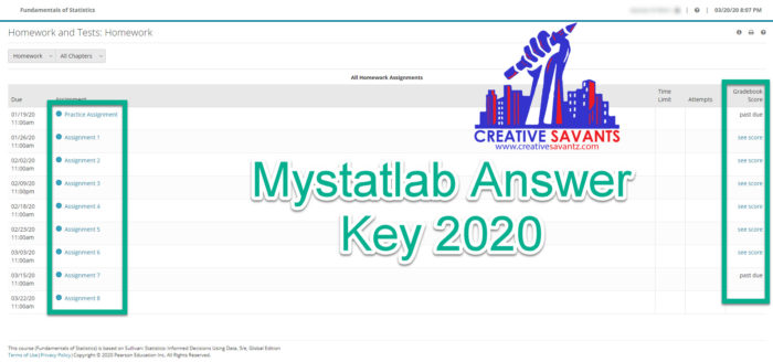 Mystatlab answers key 2020