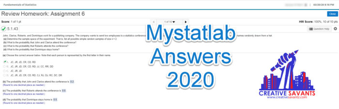 mystatlab answers 2020