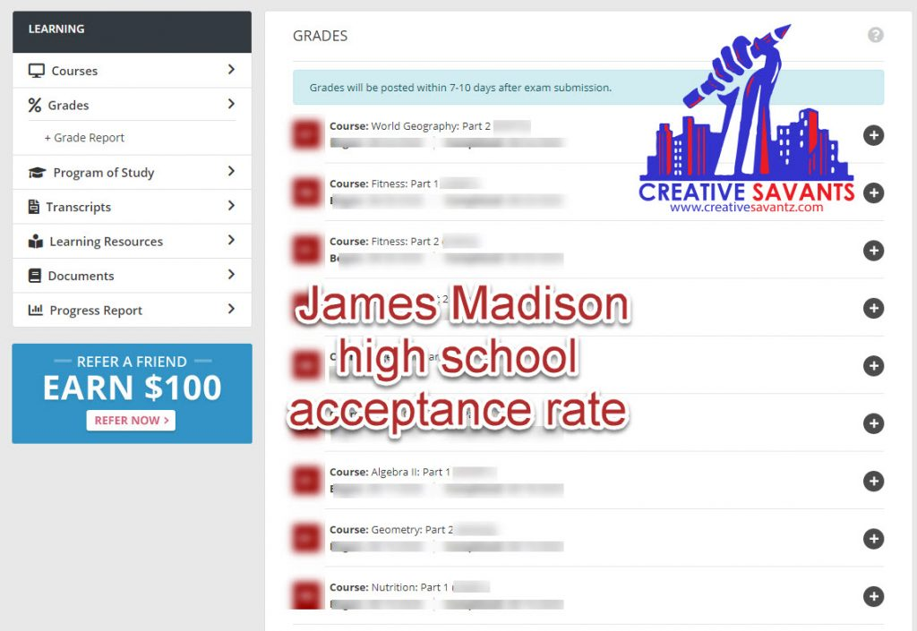 James Madison high school acceptance rate