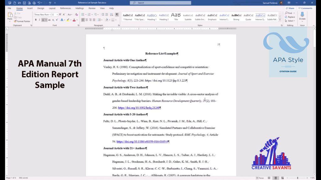 APA manual 7th edition sample paper